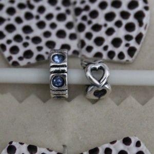 Pandora Blue Trinity CZ & Open Heart Spacer Charm